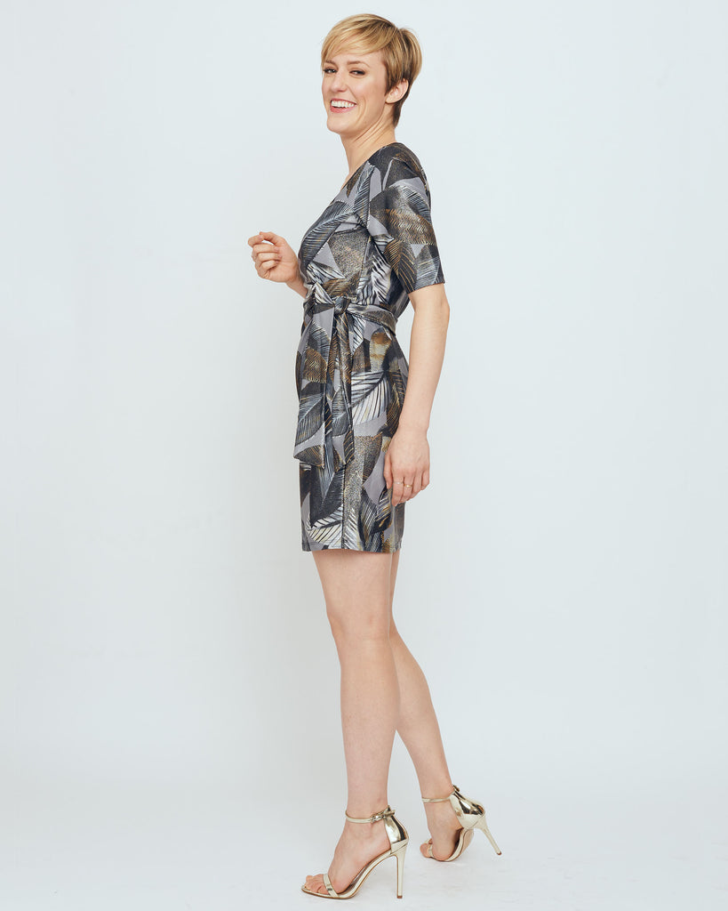 Tahiti Faux Wrap Dress in Grey Metallic A New Leaf