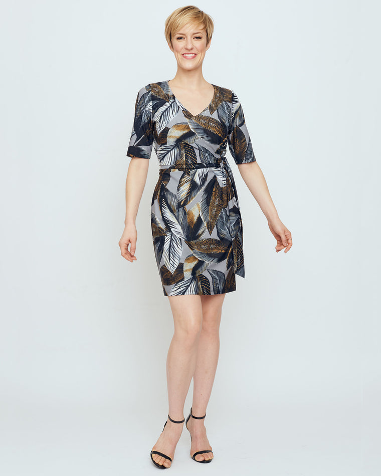 Tahiti Faux Wrap Dress in Grey A New Leaf