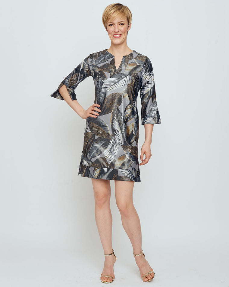 Avian Tunic Dress in Grey Metallic A New Leaf