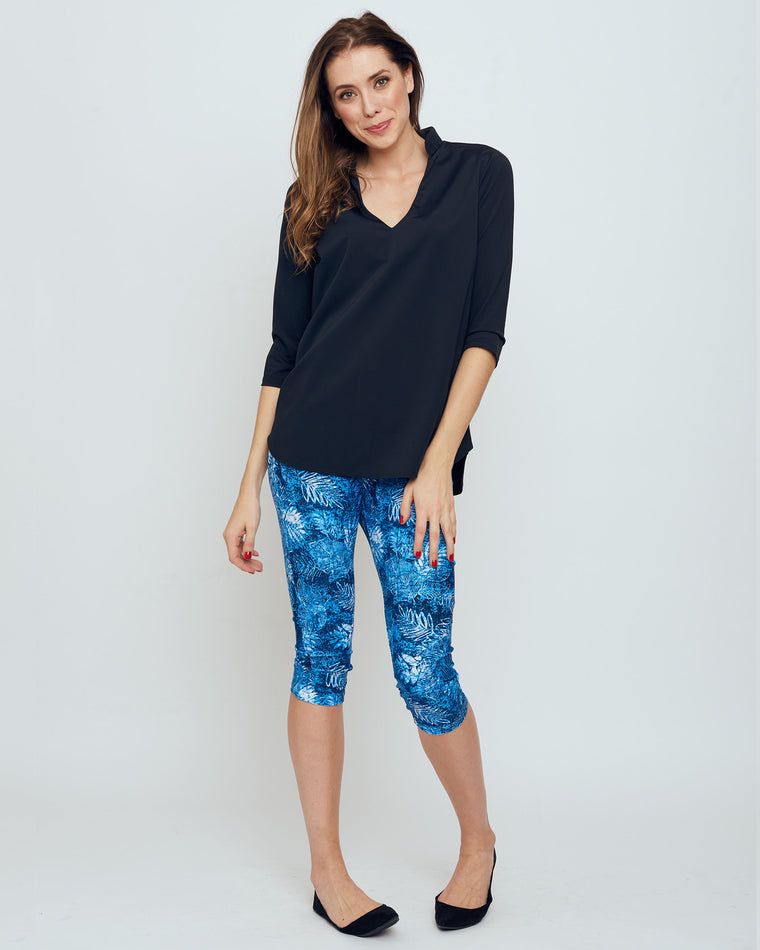 Palmyra Cropped Legging in Blue Palm Beach