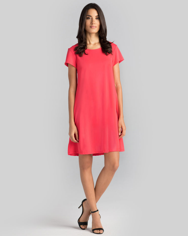 Ibiza T-Shirt Dress in Hot Coral Solid