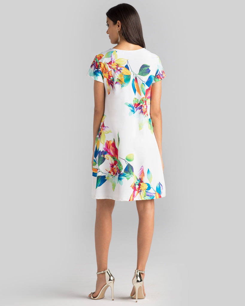 Ibiza T-Shirt Dress in White Tropical