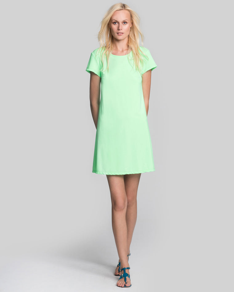 Ibiza T-Shirt Dress in Hot Lime Solid