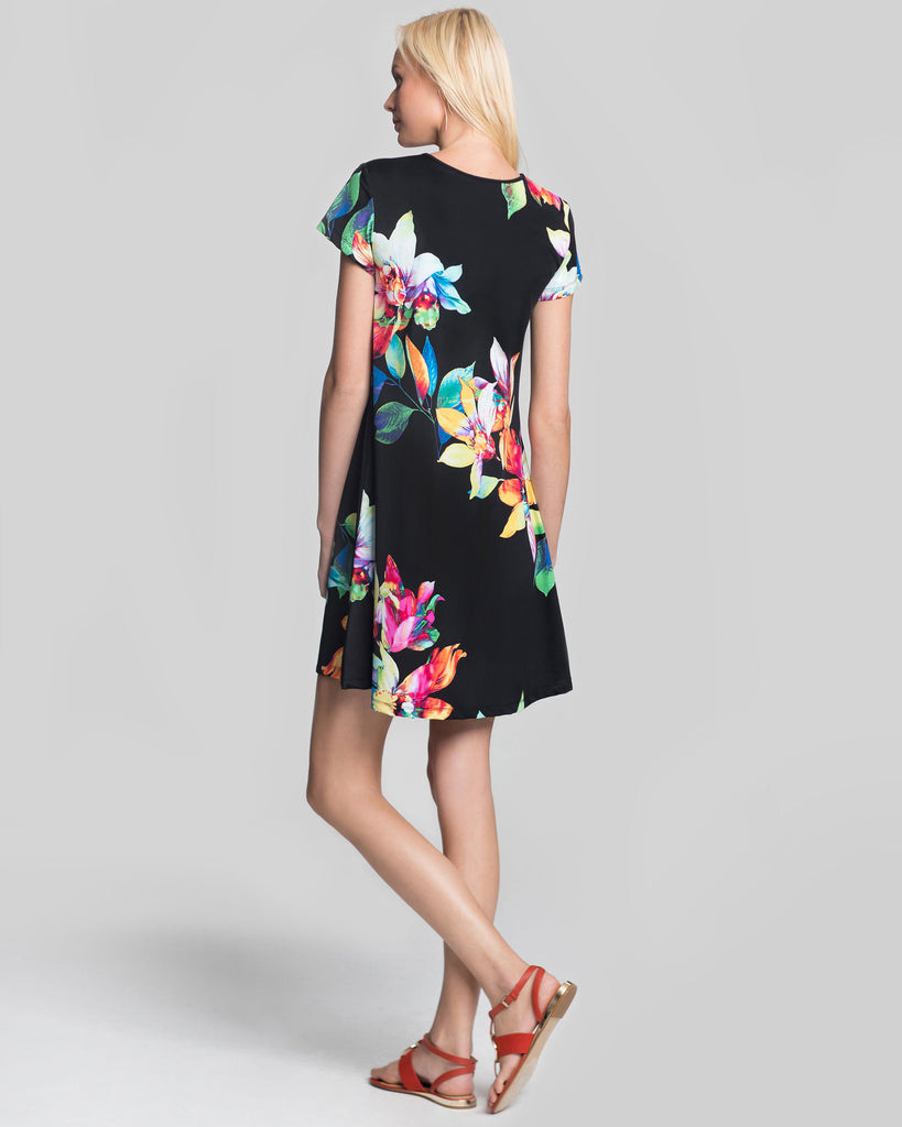 Ibiza T-Shirt Dress in Black Tropical