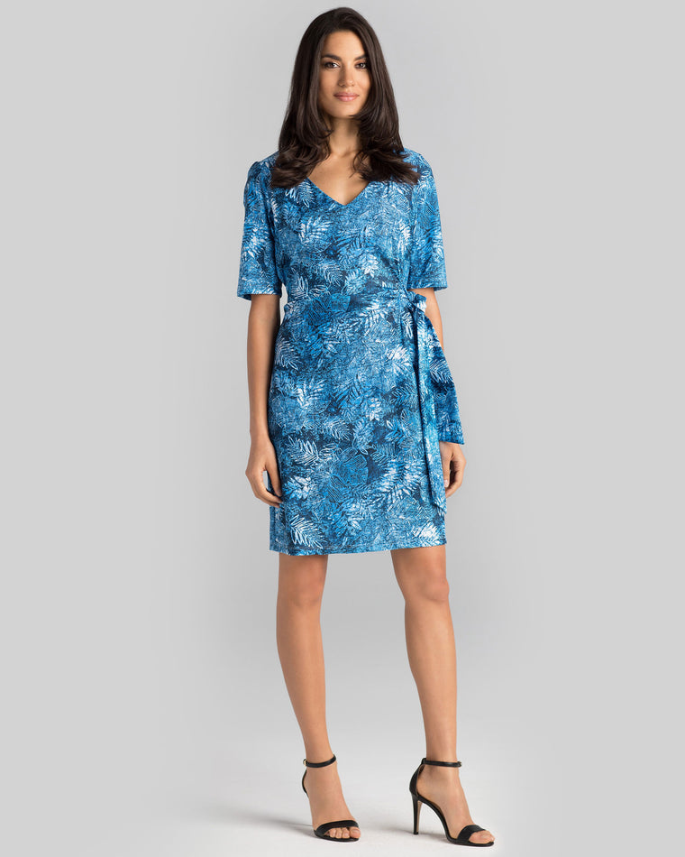 Tahiti Faux Wrap Dress in Blue Palm Beach