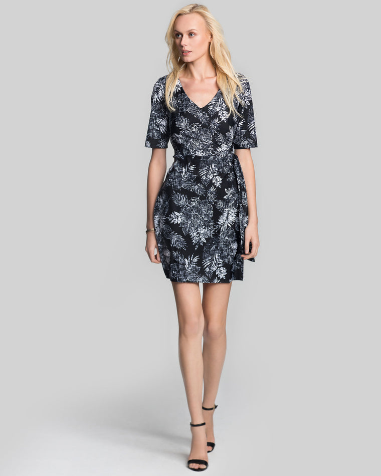 Tahiti Faux Wrap Dress in Black Palm Beach
