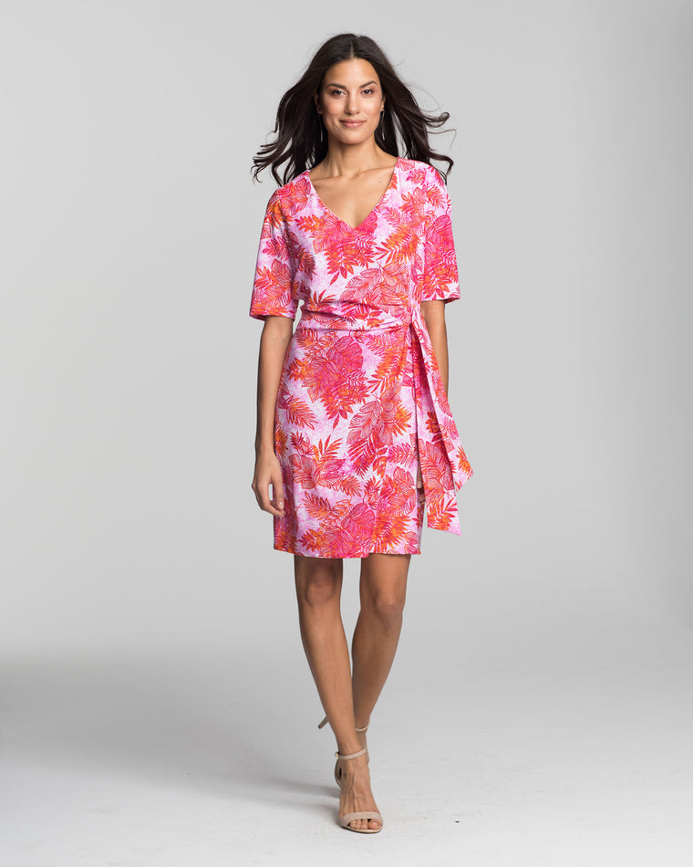 Tahiti Faux Wrap Dress in Pink Palm Beach