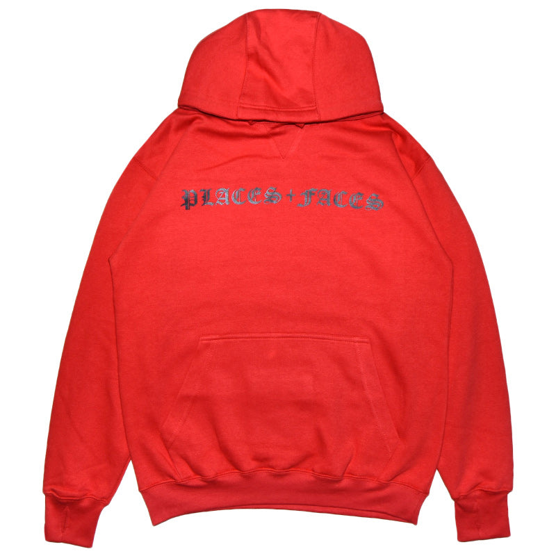RED HOODIE OLDE ENGLISH FONT