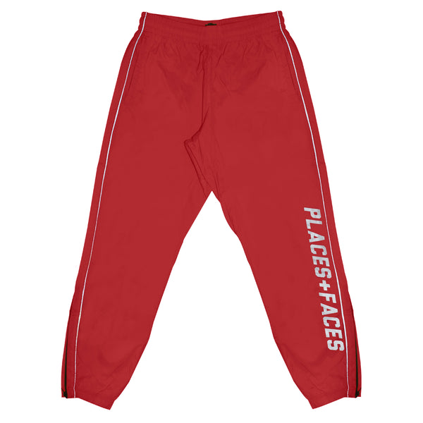 RED REFLECTIVE NYLON TRACKPANTS