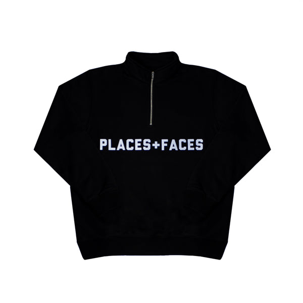 REFLECTIVE QUARTER ZIP SWEATSHIRT - BLACK