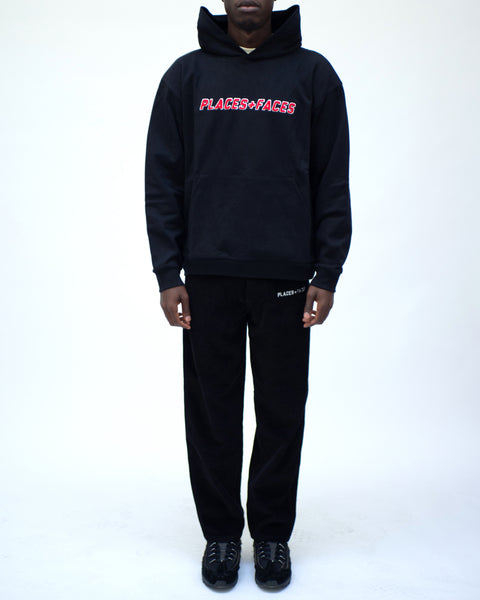 CHENILLE LOGO HOODIE - BLACK/RED