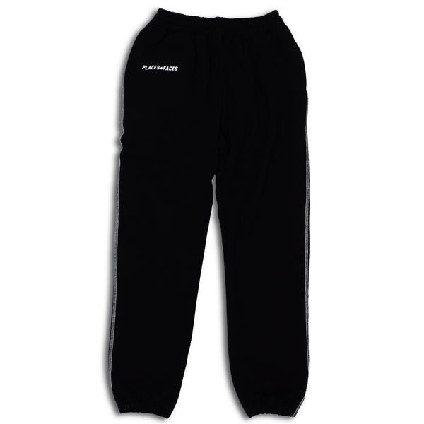 Black Contrast Stitch Logo Sweatpants