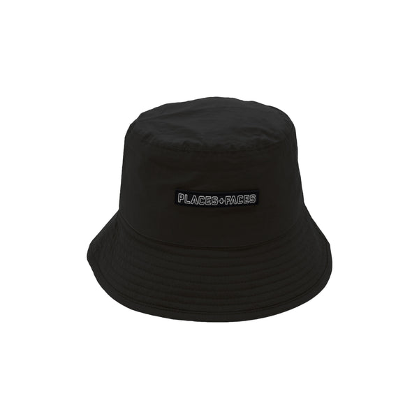 LOGO TAB BUCKET HAT - BLACK