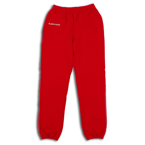 Red Contrast Stitch Logo Sweatpants