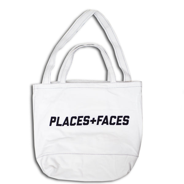 White Contrast Stitch Tote Bag
