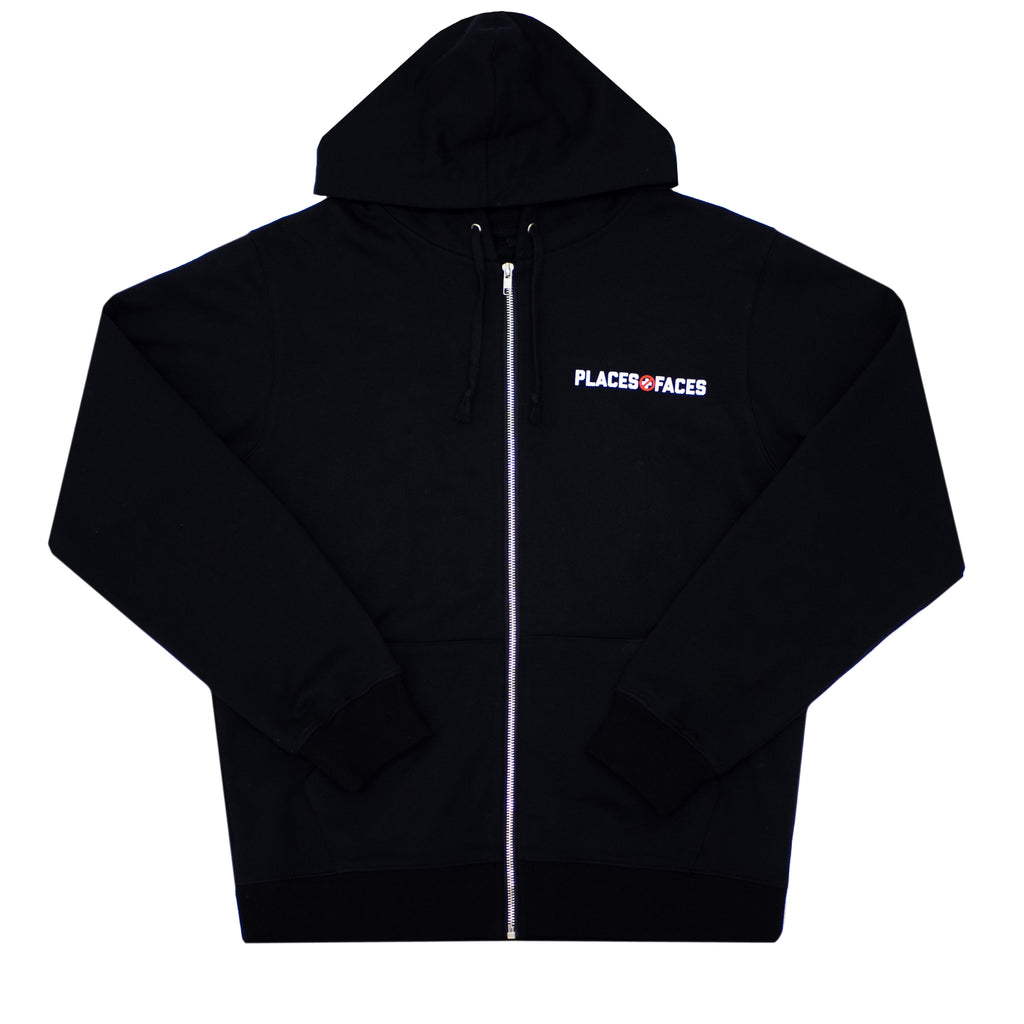 CAUTION ZIP HOODIE - BLACK