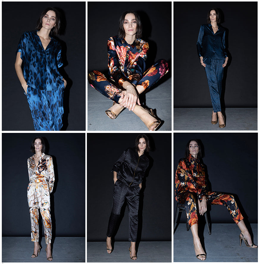 Zoom Suit in Navy Croc, Navy Bouquet, Blue Kitty, Marble, Black Croc, and Embroidered Rose