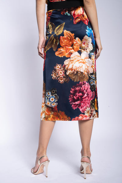 Midi Skirt + Navy Bouquet Stretch Silk
