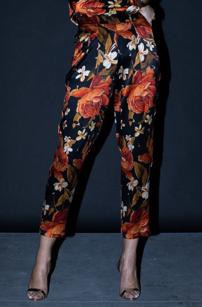 Jogger Pant + Embroidered Rose Silk