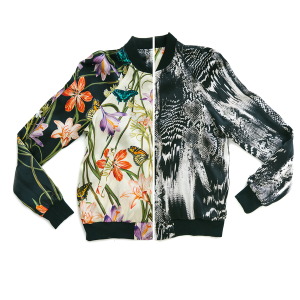 The Reversible Silk Bomber + Venom Black/Botanica Ivory