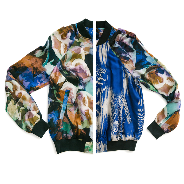 The Reversible Silk Bomber + Floral Abyss/Blue Venom
