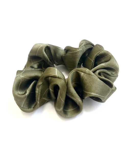 Printed Silk Hair Scrunchie + Army Croc