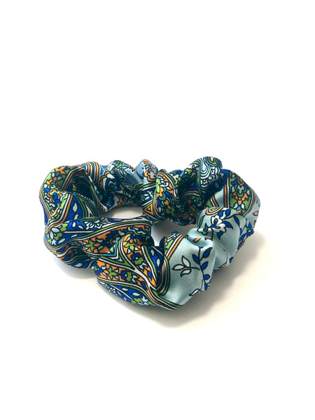 Printed Silk Hair Scrunchies + Set of 3 Moody Blues