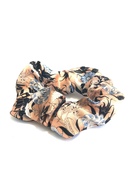 Printed Silk Hair Scrunchie + Peach Ditsy