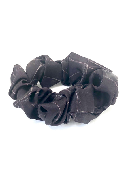 Printed Silk Hair Scrunchies + Black Croc