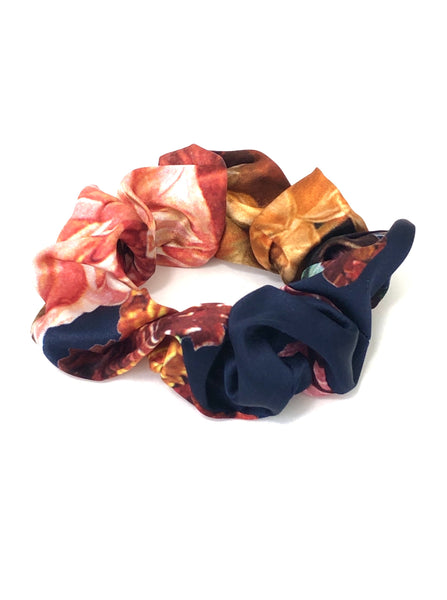 Printed Silk Hair Scrunchie + Navy Bouquet