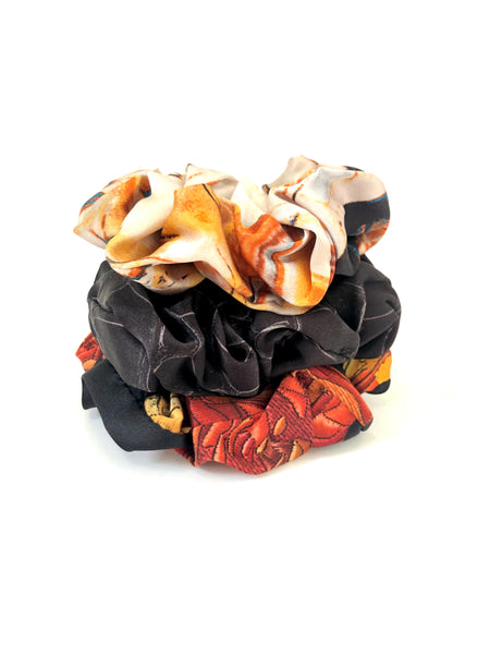 Printed Silk Hair Scrunchies + Set of 3 Marble Madness