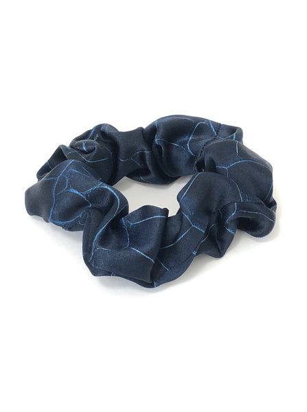 Printed Silk Hair Scrunchie + Navy Croc
