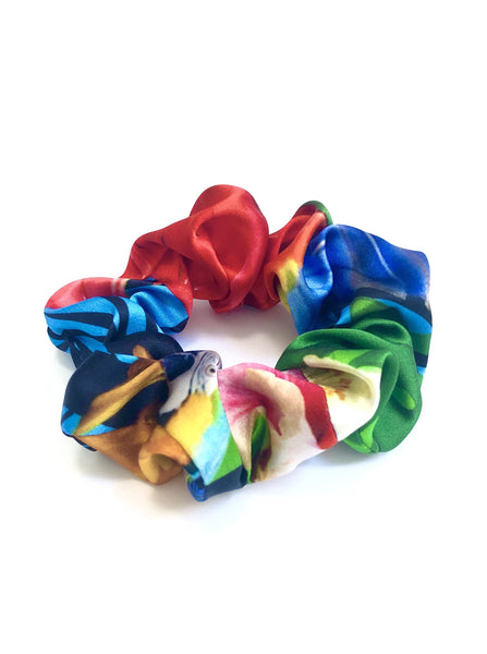Printed Silk Hair Scrunchie + Parrot