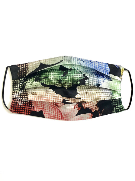 Printed Silk Face Mask + Floral Grid