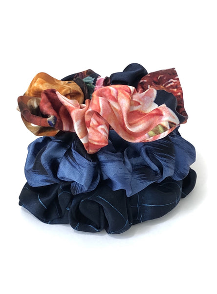 Printed Silk Hair Scrunchies + Set of 3 Beyond Blue
