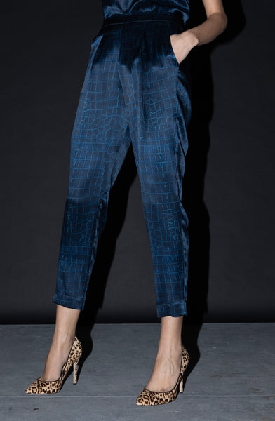 Jogger Pant + Navy Croc Stretch Silk