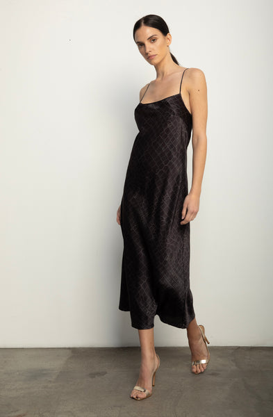 Midi Slip Dress + Black Croc Silk