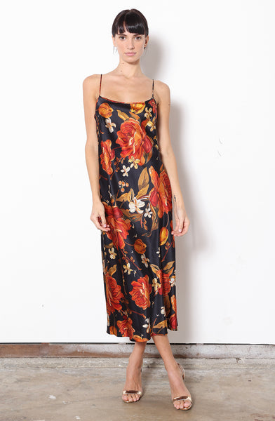 Midi Slip Dress + Embroidered Rose