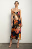 Midi Slip Dress + Navy Bouquet Stretch Silk