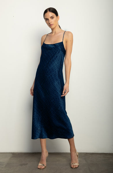 Midi Slip Dress + Navy Croc Silk