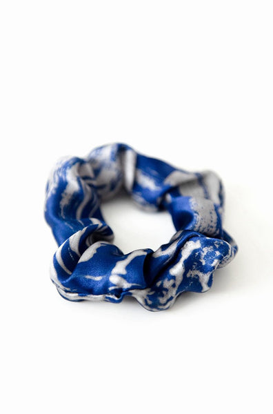 Printed Silk Hair Scrunchie + Venom Blue