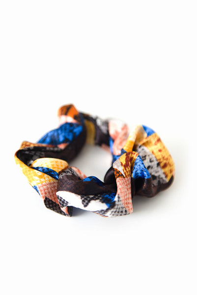 Printed Silk Hair Scrunchies + Set of 3 Blue Multi