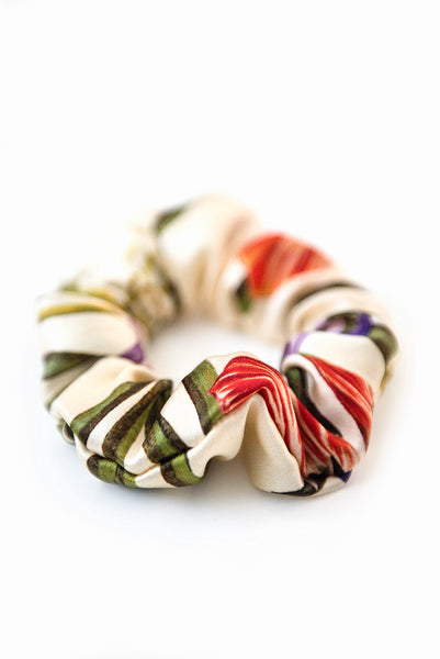 Printed Silk Hair Scrunchies + Botanica Ivory