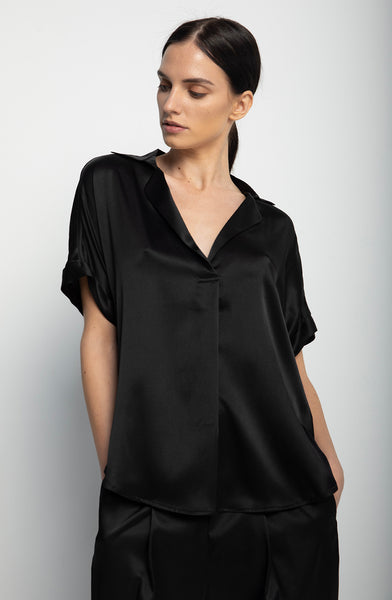 Short Sleeve Blouse + Black
