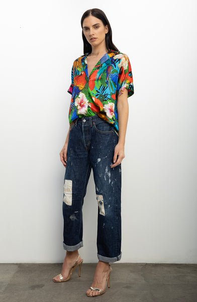 Short Sleeve Blouse + Parrot