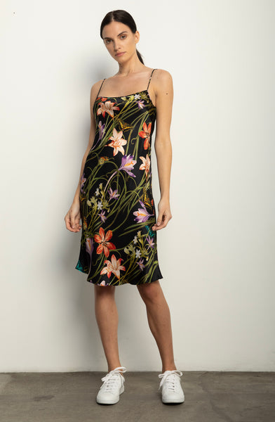 The Silk Bias Slip + Botanica Black