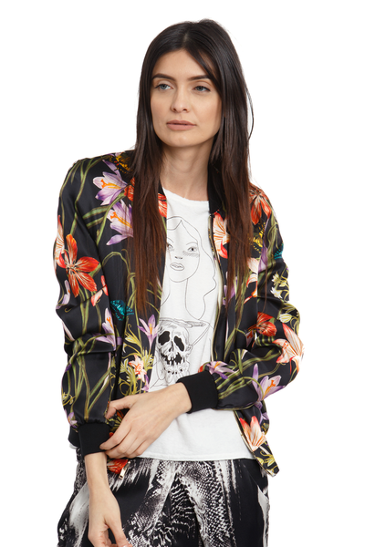 The Reversible Silk Bomber + Hothouse Floral/Botanica Black