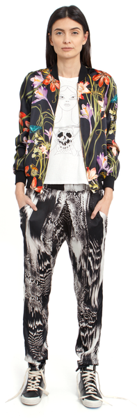 The Reversible Silk Bomber + Botanica Black/Hothouse Floral