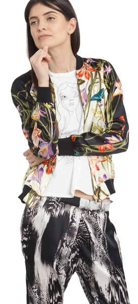 The Reversible Silk Bomber + Botanica Ivory/Venom Black