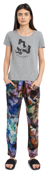 The Silk Jogger Pant + Floral Abyss